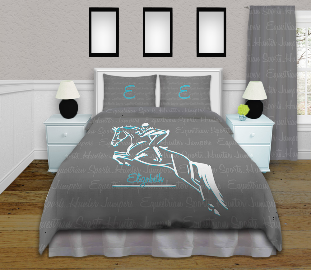 Horse Bedding For Girls Hunter Jumper Teal