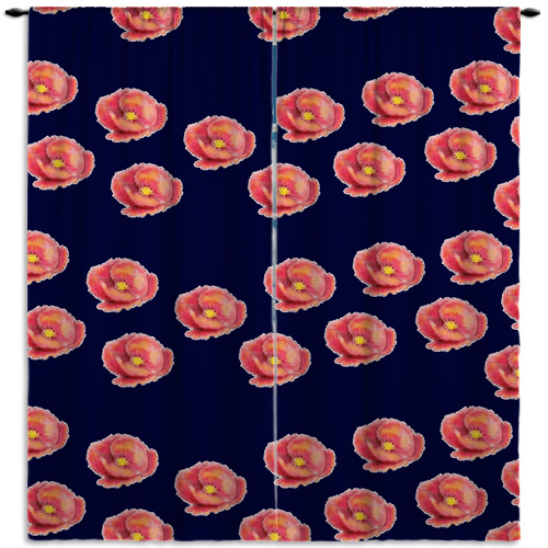 #418_Floral Navy Window Curtains