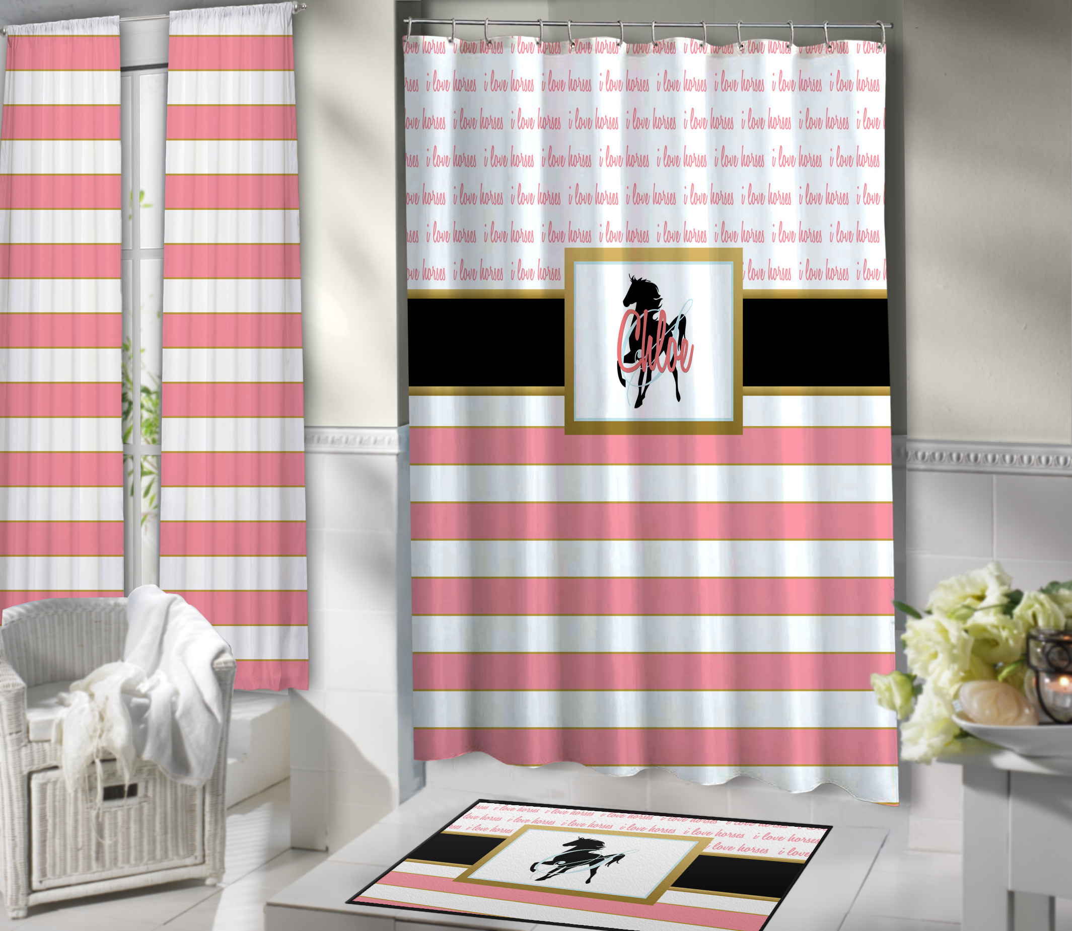 Pink Horse Shower Curtain Fabric Personalized 423 Eloquent Equestrian