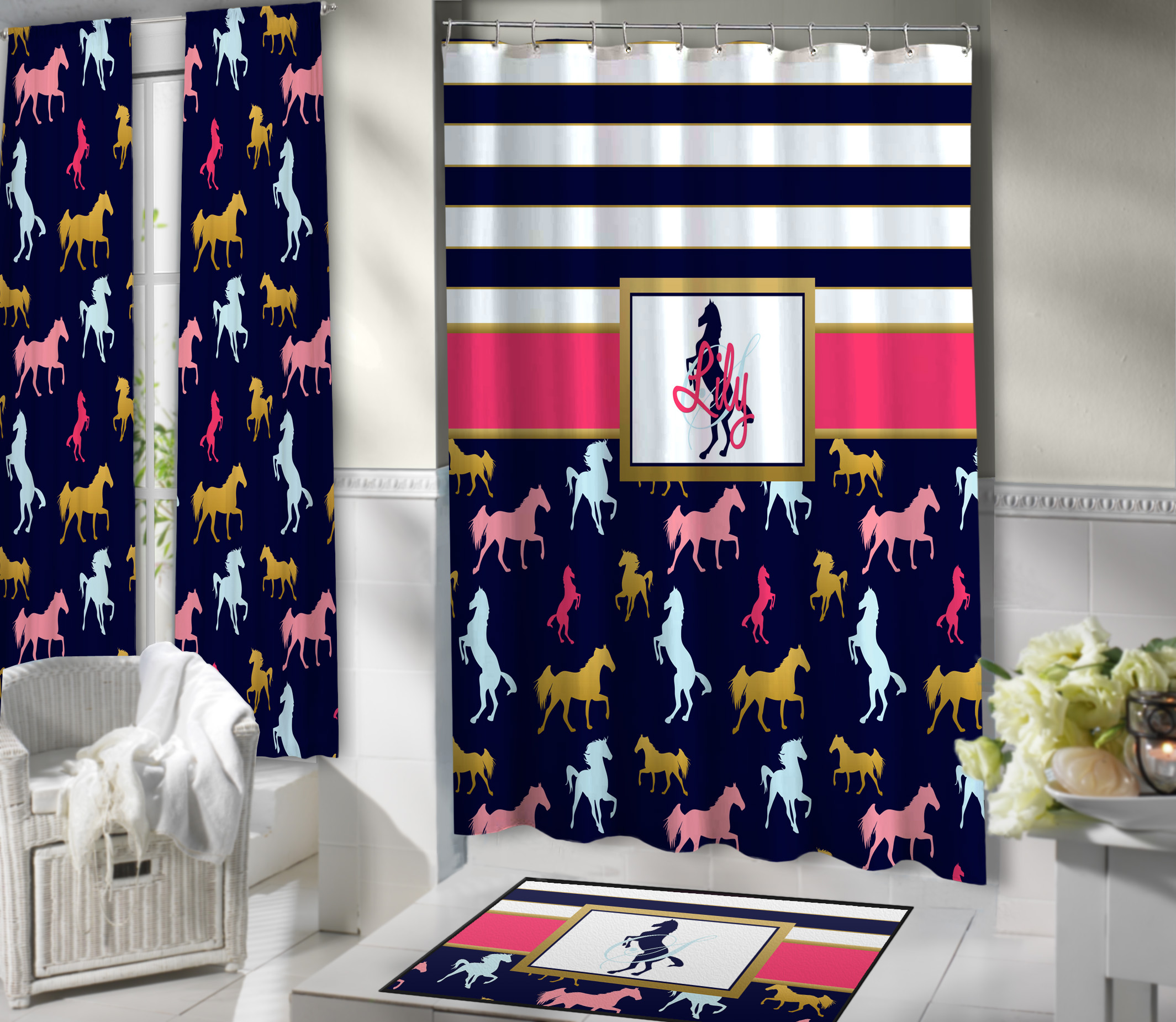 Kids Horse Shower Curtain Fabric Personalized 425 Eloquent Equestrian