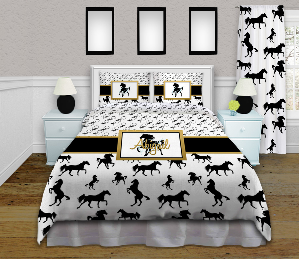 Girls Horse Bedding - Black White & Gold - Personalized ...